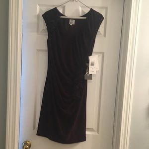Oleg Cassini purple dress with ruffles (NWT)